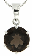 "10.30ctw Smokey Quartz Pendant in Sterling Silver with 18"" Chain"