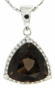 "6.34ctw Smokey Quartz Pendant in Sterling Silver with 18"" Chain"