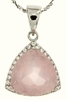 "6.34ctw Rose Quartz Pendant in Sterling Silver with 18"" Chain"