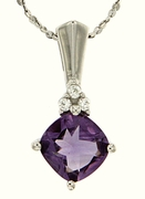 "1.83ctw Amethyst Pendant in Sterling Silver with 18"" Chain"