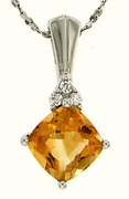 "1.83ctw Citrine Pendant in Sterling Silver with 18"" Chain"