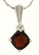 "1.83ctw Garnet Pendant in Sterling Silver with 18"" Chain"