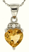 "1.40ctw Citrine Pendant in Sterling Silver with 18"" Chain"