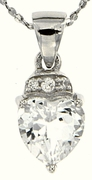"1.40ctw White Topaz Pendant in Sterling Silver with 18"" Chain"