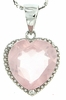 "4.73ctw Rose Quartz Pendant in Sterling Silver with 18"" Chain"