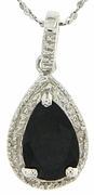 "1.81ctw Sapphire and Diamond Pendant in Sterling Silver with 18"" Chain"