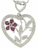 "0.26ctw Ruby and Diamond Pendant in Sterling Silver with 18"" Chain"