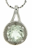 """1.81ctw Green Amethyst and Diamond Pendant in Sterling Silver with 18"""" Chain"""