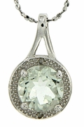 "1.81ctw Green Amethyst and Diamond Pendant in Sterling Silver with 18"" Chain"