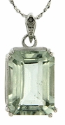 "7.31ctw Green Amethyst and Diamond Pendant in Sterling Silver with 18"" Chain"