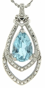 "1.66ctw Sky Topaz and Diamond Pendant in Sterling Silver with 18"" Chain"