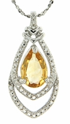 """1.66ctw Citrine and Diamond Pendant in Sterling Silver with 18"""" Chain"""