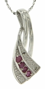 "0.21ctw Ruby and Diamond Pendant in Sterling Silver with 18"" Chain"
