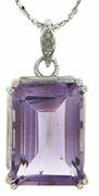 "6.01ctw Amethyst and Diamond Pendant in Sterling Silver with 18"" Chain"