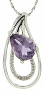 "1.66ctw Amethyst and Diamond Pendant in Sterling Silver with 18"" Chain"