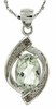"""1.21ctw Green Amethyst and Diamond Pendant in Sterling Silver with 18"""" Chain"""