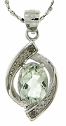 "1.21ctw Green Amethyst and Diamond Pendant in Sterling Silver with 18"" Chain"