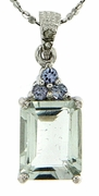 "2.48ctw Green Amethyst and Tanzanite Pendant in Sterling Silver with 18"" Chain"