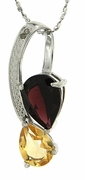 "3.40ctw Garnet and Citrine Pendant in Sterling Silver with 18"" Chain"