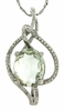 """3.61ctw Green Amethyst and Diamond Pendant in Sterling Silver with 18"""" Chain"""