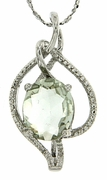 "3.61ctw Green Amethyst and Diamond Pendant in Sterling Silver with 18"" Chain"