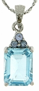 "1.49ctw Sky Topaz and Tanzanite Pendant in Sterling Silver with 18"" Chain"