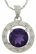 "1.81ctw Amethyst and Diamond Pendant in Sterling Silver with 18"" Chain"