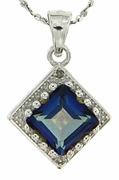 "1.80ctw Blue Topaz and Diamond Pendant in Sterling Silver with 18"" Chain"