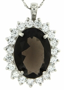 "11.30ctw Smokey Topaz Pendant in Sterling Silver with 18""Chain"