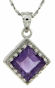 "1.61ctw Amethyst and Diamond Pendant in Sterling Silver with 18"" Chain"