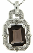 "2.21ctw Smokey Topaz and Diamond Pendant in Sterling Silver with 18""Chain"