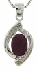 "1.71ctw Ruby and Diamond Pendant in Sterling Silver with 18"" Chain"
