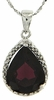 "4.41ctw Garnet and Diamond Pendant in Sterling Silver with 18"" Chain"