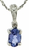 "0.44ctw Tanzanite and Diamond Pendant in Sterling Silver with 18"" Chain"