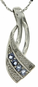 "0.17ctw Tanzanite and Diamond Pendant in Sterling Silver with 18"" Chain"