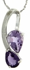 "2.76ctw Amethyst and Diamond Pendant in Sterling Silver with 18"" Chain"