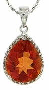 "4.11ctw Orange Rainbow Quartz and Diamond Pendant in Sterling Silver with 18"" Chain"