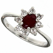 1.03ctw Ruby and White Topaz Ring in Sterling Silver