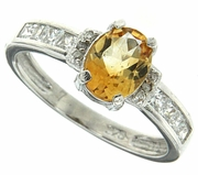 1.00ctw Citrine and Diamond Ring in Sterling Silver