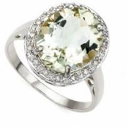 5.36ctw Green Amethyst and Diamond Ring in Sterling Silver