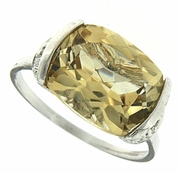 5.16ctw Citrine and Diamond Ring in Sterling Silver