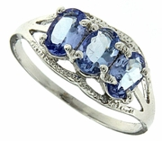 1.21ctw Tanzanite and Diamond Ring in Sterling Silver