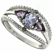 1.14ctw Tanzanite and Amethyst and Diamond Ring in Sterling Silver