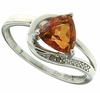 1.33ctw Orange Rainbow Quartz and Diamond Ring in Sterling Silver