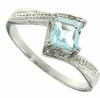 0.85ctw Sky Topaz and Diamond RIng in Sterling Silver