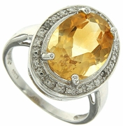 4.81ctw Citrine and Diamond Ring in Sterling Silver