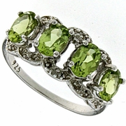 2.01ctw Peridot and Diamond Ring in Sterling Silver