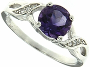 1.47ctw Amethyst and Diamond Ring in Sterling Silver