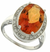 5.01ctw Orange Rainbow Quartz and Diamond Ring in Sterling Silver