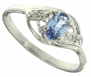 0.44ctw Tanzanite and Diamond Ring in Sterling Silver